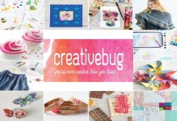 creativebug logo surrounded by craft projects