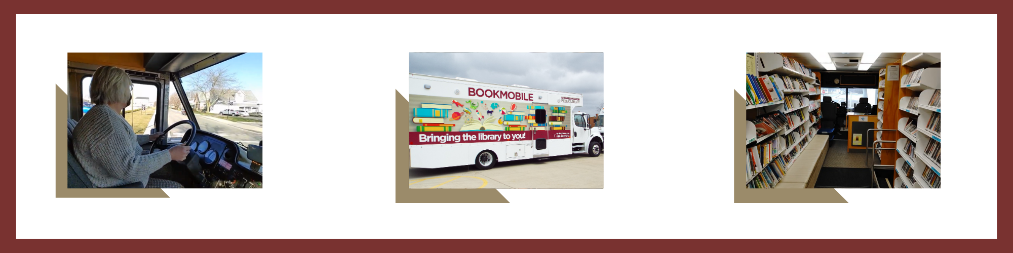 photos of bookmobile and inside of bookmobile with books and videos on shelves