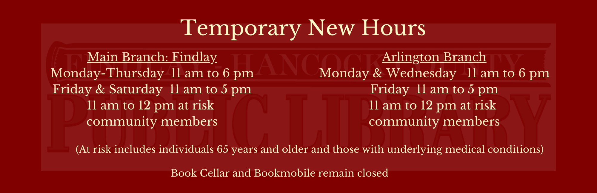 temporary new hours until returning to normal business